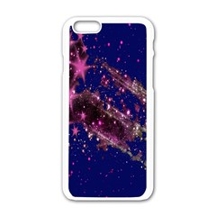 Stars Abstract Shine Spots Lines Apple Iphone 6/6s White Enamel Case