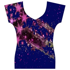 Stars Abstract Shine Spots Lines Women s V-Neck Cap Sleeve Top