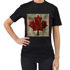 Canada flag Women s T-Shirt (Black) (Two Sided)