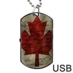 Canada flag Dog Tag USB Flash (One Side)