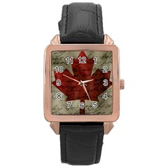 Canada flag Rose Gold Leather Watch