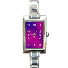 Retro Halftone Pink On Blue Rectangle Italian Charm Watch