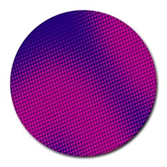 Retro Halftone Pink On Blue Round Mousepads