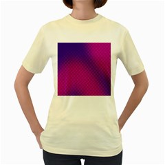 Retro Halftone Pink On Blue Women s Yellow T Shirt