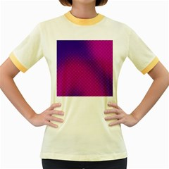 Retro Halftone Pink On Blue Women s Fitted Ringer T Shirts