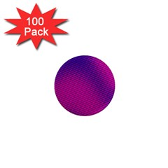 Retro Halftone Pink On Blue 1  Mini Magnets (100 Pack)
