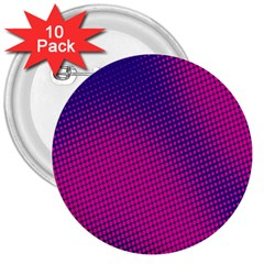 Retro Halftone Pink On Blue 3  Buttons (10 pack)