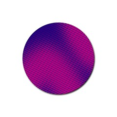 Retro Halftone Pink On Blue Rubber Round Coaster (4 pack)