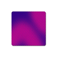 Retro Halftone Pink On Blue Square Magnet