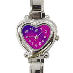 Retro Halftone Pink On Blue Heart Italian Charm Watch