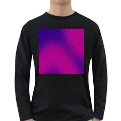 Retro Halftone Pink On Blue Long Sleeve Dark T-Shirts
