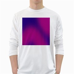 Retro Halftone Pink On Blue White Long Sleeve T Shirts