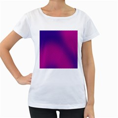 Retro Halftone Pink On Blue Women s Loose Fit T Shirt (white)