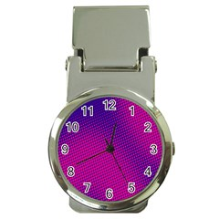 Retro Halftone Pink On Blue Money Clip Watches