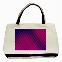 Retro Halftone Pink On Blue Basic Tote Bag