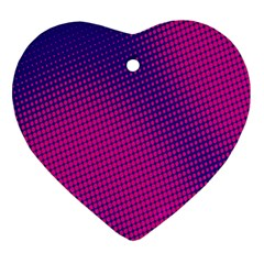Retro Halftone Pink On Blue Heart Ornament (two Sides)
