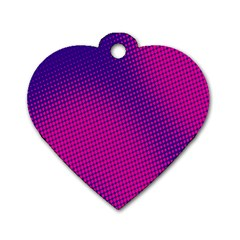 Retro Halftone Pink On Blue Dog Tag Heart (Two Sides)
