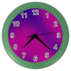 Retro Halftone Pink On Blue Color Wall Clocks