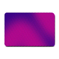 Retro Halftone Pink On Blue Small Doormat