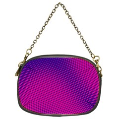 Retro Halftone Pink On Blue Chain Purses (one Side)