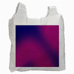 Retro Halftone Pink On Blue Recycle Bag (one Side)