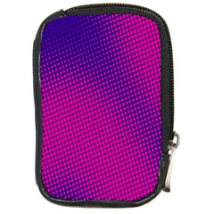 Retro Halftone Pink On Blue Compact Camera Cases