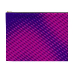 Retro Halftone Pink On Blue Cosmetic Bag (XL)