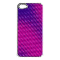 Retro Halftone Pink On Blue Apple Iphone 5 Case (silver)