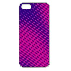 Retro Halftone Pink On Blue Apple Seamless iPhone 5 Case (Clear)