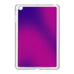 Retro Halftone Pink On Blue Apple iPad Mini Case (White)