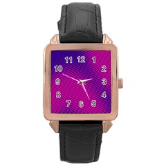 Retro Halftone Pink On Blue Rose Gold Leather Watch