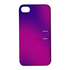 Retro Halftone Pink On Blue Apple iPhone 4/4S Hardshell Case with Stand