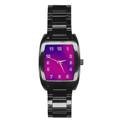 Retro Halftone Pink On Blue Stainless Steel Barrel Watch