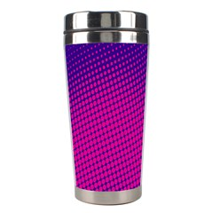 Retro Halftone Pink On Blue Stainless Steel Travel Tumblers