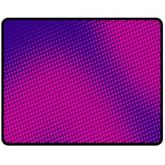 Retro Halftone Pink On Blue Double Sided Fleece Blanket (Medium)