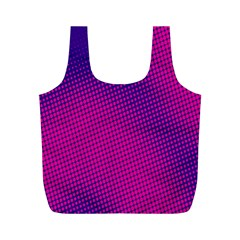 Retro Halftone Pink On Blue Full Print Recycle Bags (M)