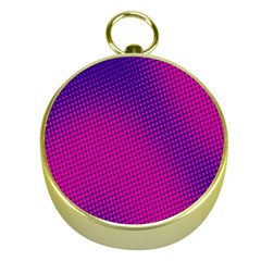 Retro Halftone Pink On Blue Gold Compasses