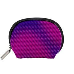 Retro Halftone Pink On Blue Accessory Pouches (Small)