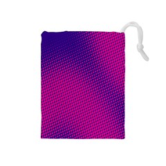 Retro Halftone Pink On Blue Drawstring Pouches (Medium)
