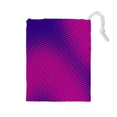 Retro Halftone Pink On Blue Drawstring Pouches (Large)