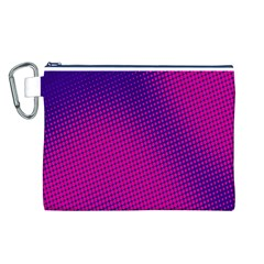 Retro Halftone Pink On Blue Canvas Cosmetic Bag (L)