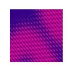 Retro Halftone Pink On Blue Small Satin Scarf (Square)