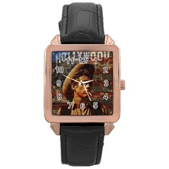 James Dean   Rose Gold Leather Watch