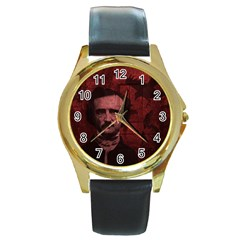 Edgar Allan Poe  Round Gold Metal Watch