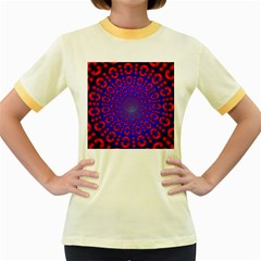 Binary Code Optical Illusion Rotation Women s Fitted Ringer T-Shirts