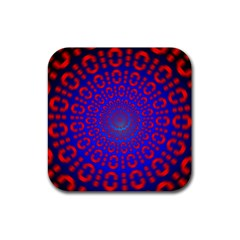 Binary Code Optical Illusion Rotation Rubber Square Coaster (4 Pack)