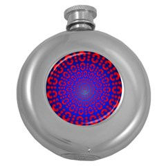 Binary Code Optical Illusion Rotation Round Hip Flask (5 Oz)
