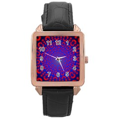 Binary Code Optical Illusion Rotation Rose Gold Leather Watch