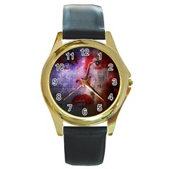 David Bowie  Round Gold Metal Watch