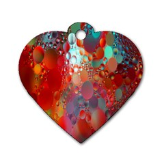 Texture Spots Circles Dog Tag Heart (one Side)